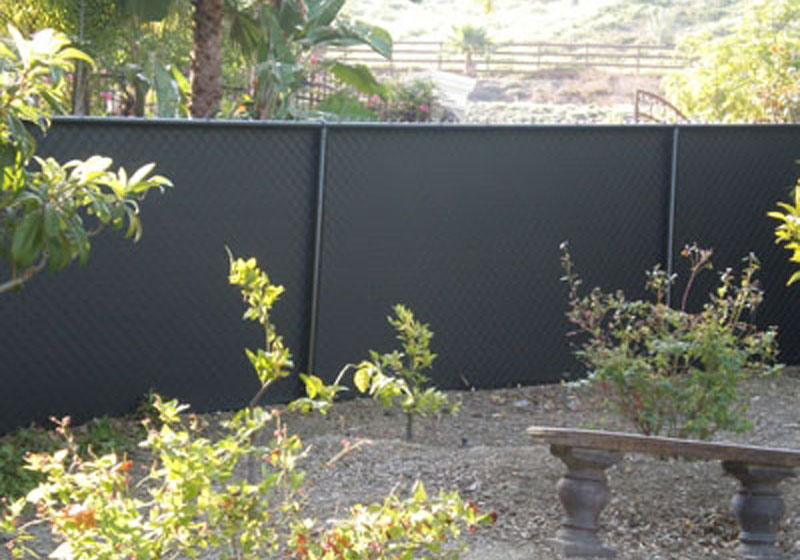 Chainlink Fence With Black Windscreen