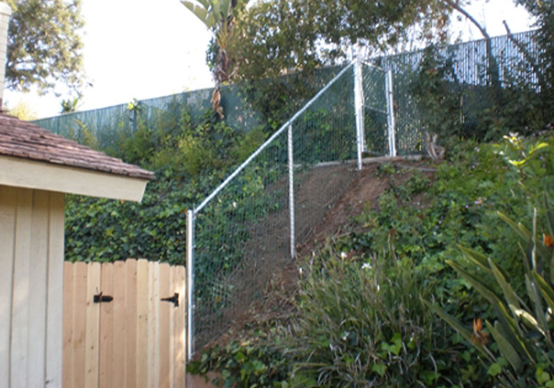 Chain Link Sloped Fence