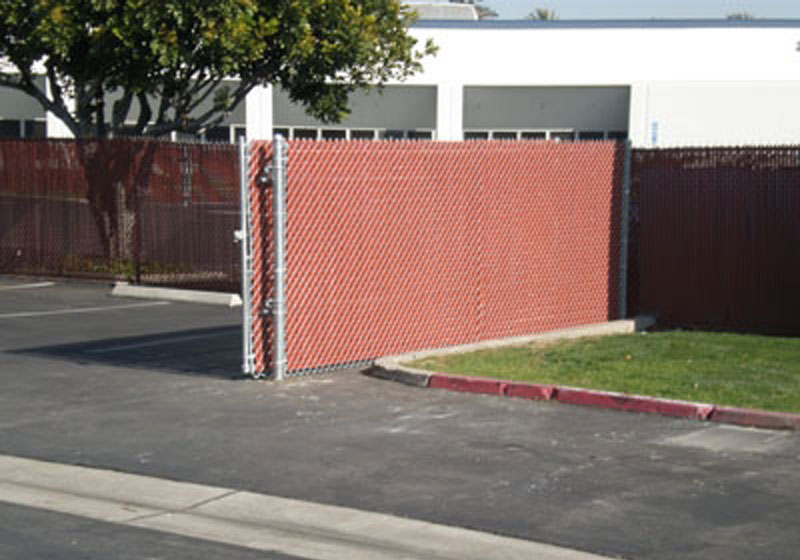 Chain Link Sliding Gate With Privacy Slats